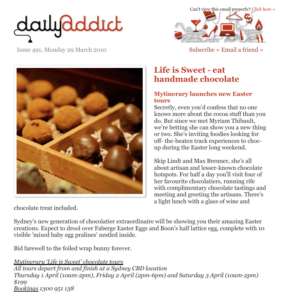 Daily Addict - Mytinerary chocolate tours - 29 March 10
