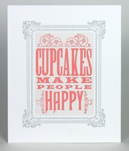 Yee Haw letterpress cards - cupcakes